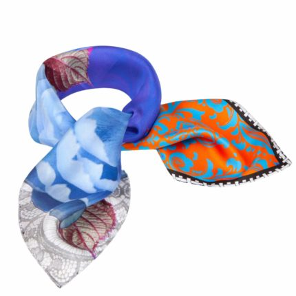 Blue Orange Small print Silk Scarf