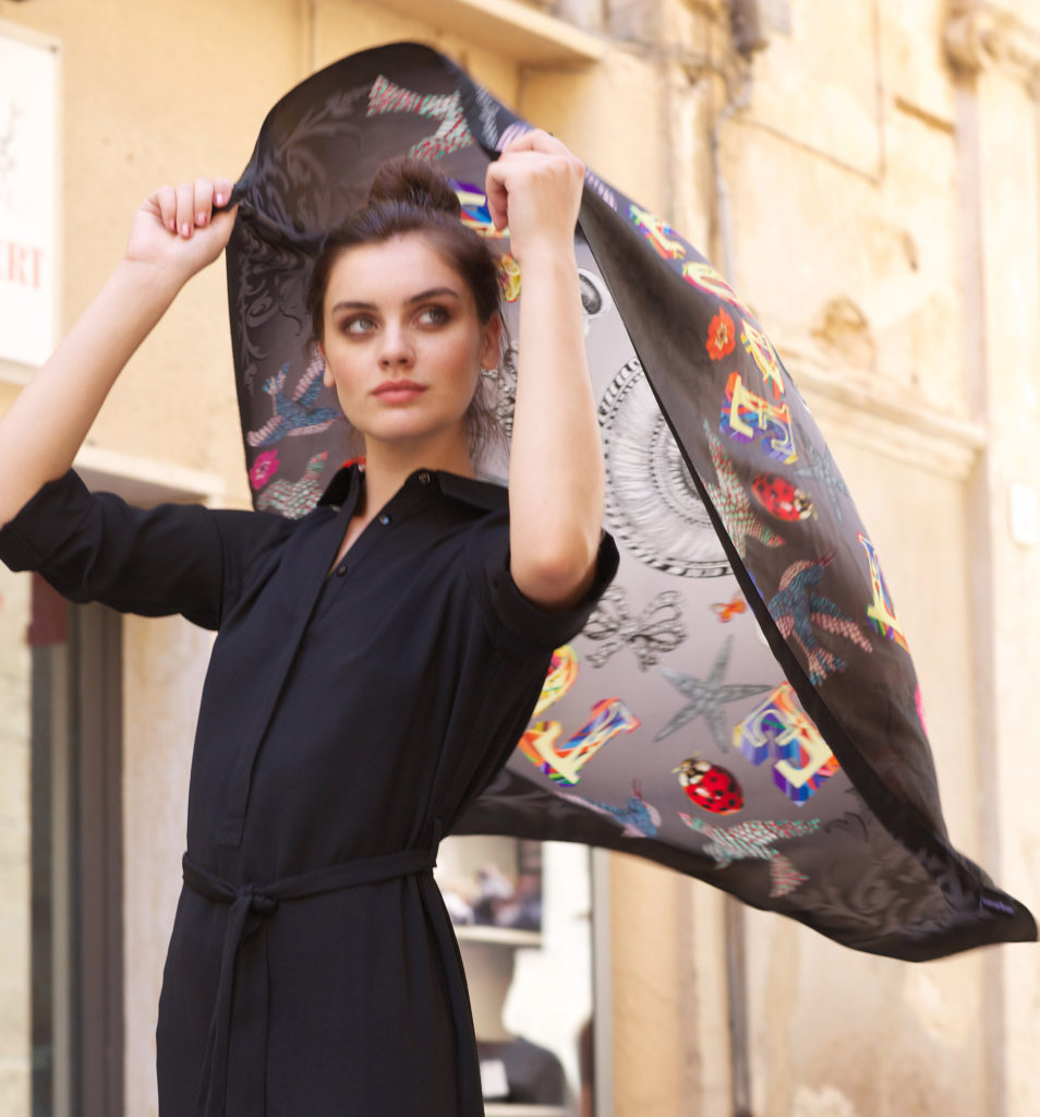 Susannagh Grogan LOVE Printed Silk Scarf 'Pandora's Box' Collection SQ