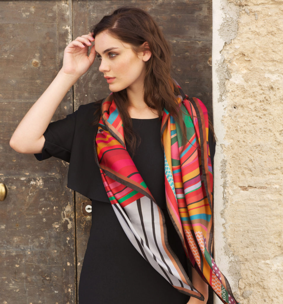 Susannagh Grogan 'RED SWIRL Printed Silk Scarf 'Pandora's Box' Collection SQ