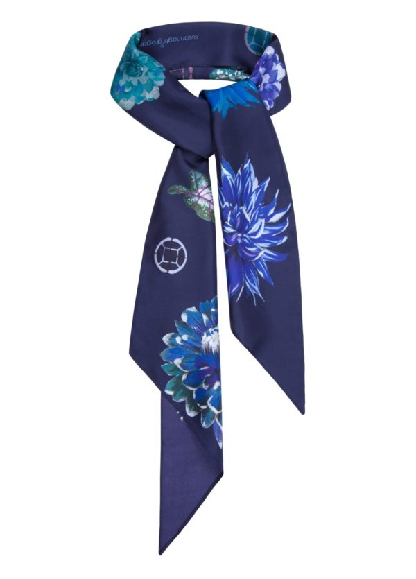 Irish Desgner, Susannagh Grogan Printed Silk Scarves | New FLOWER FLASH Collection | Navy Rectangle Silk Scarf