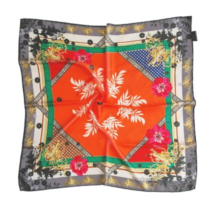 Orange Silk scarf. Classic printed scarves. Designed in Ireland