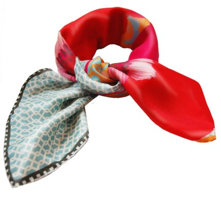 Red Pink Floral Chain Susannagh Grogan Small Silk scarf