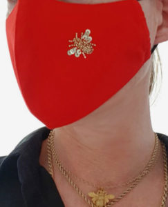 Susannagh Grogan Scarves. Red + Gold Bee Face Mask