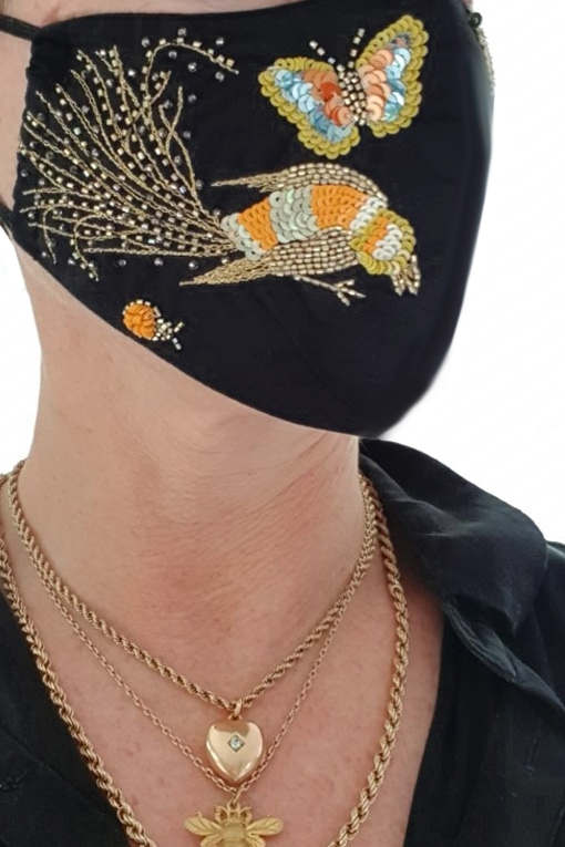Susannagh Grogan Gold Bird face Mask
