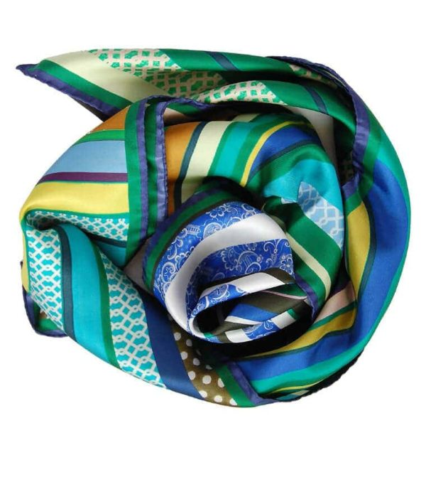 Green Swirl small silk scarf Susannagh Grogan Scarves