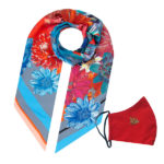 Susannagh Grogan Scarves 'Floral Long Silk Scarf + Mask Christmas Gift Set