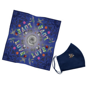 Gift Set Love Navy Scarf + Gold Bee navy Mask