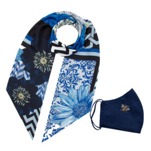 Gift Set Long Navy Scarf + Gold Bee navy Mask
