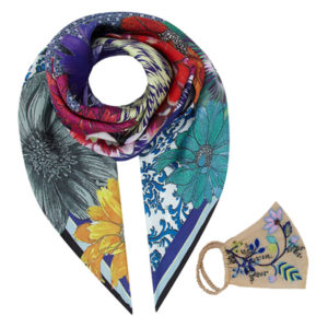 Susannagh Grogan Scarves Floral and matching face mask