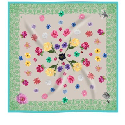 Taupe, green and touquoise flower silk scarf by Irish designer,