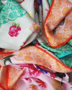 Lace Green + Pink Printed Silk Scarves