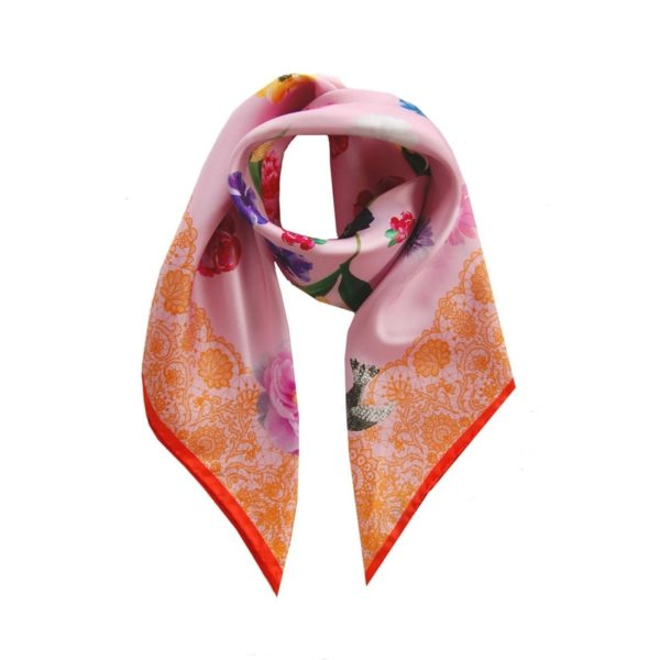 Pink Lace + Floral printed silk scarf, Designed in Ireland